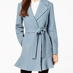Kate Spade Wool Ruffle Belted Coat NEW
